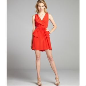 Greylin Elsa Red Silk Peplum Party Dress